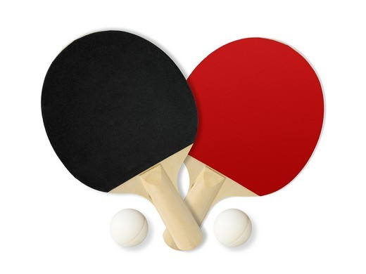 Black Red Table tennis rackets : Stock Photo