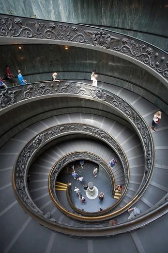 Main staircase, Musei Vaticani, Rome, Italy : Stock Photo