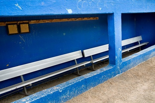 Stock Photo: 1436R-433365 Empty baseball dugout at a college