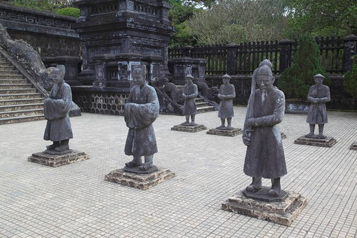Statue of Mandarins at Khai Dinh Tomb, Hue, Vietnam : Stock Photo