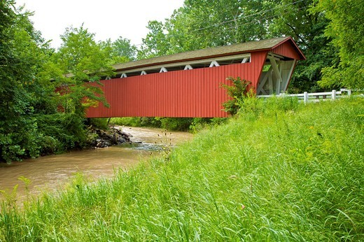 The Historic Everett Road Covered Bridge in Cuyahoga National Park, Near Cleveland Ohio : Stock Photo