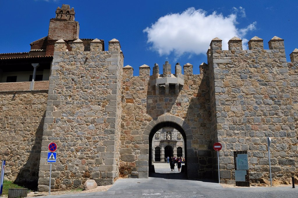 medieval city wall and gate of Avila, Unesco World Heritage Site, Castile and Leon, Castilia y Leon, Spain, Europe public ground : Stock Photo