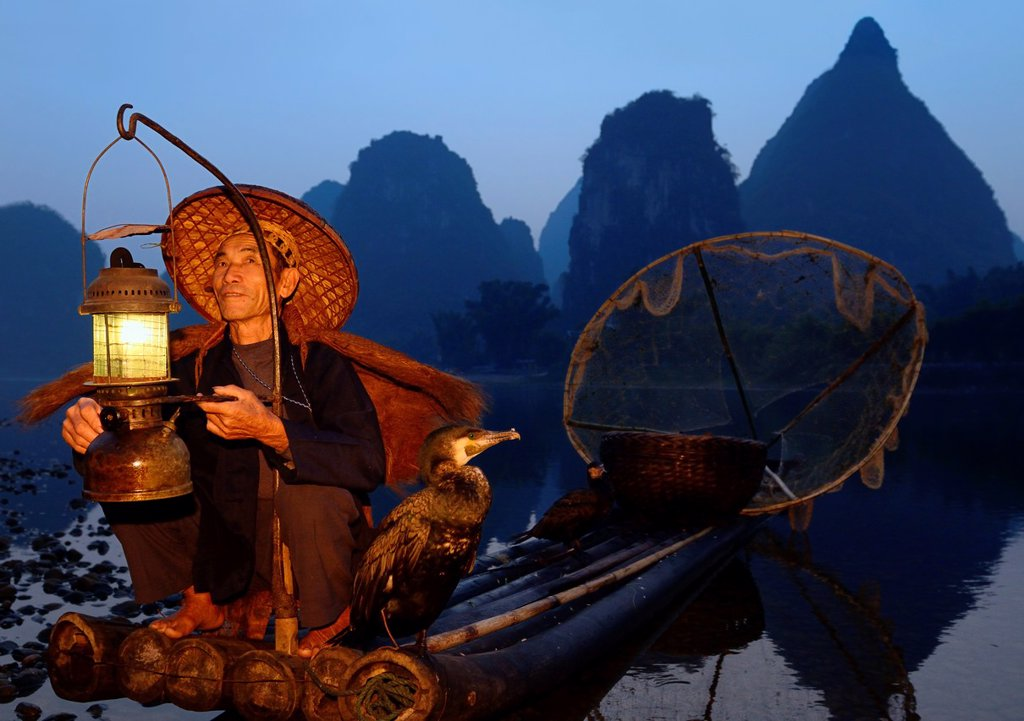 Stock Photo: 1436R-436387 Fisherman with lantern on a bamboo raft with cormorants at dawn on the shore of the Li river Yangshuo China