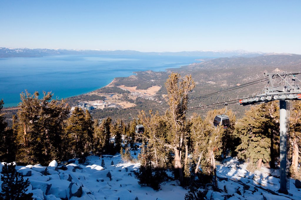 Heavenly Mountain Resort is a ski resort located on the California-Nevada border in South Lake Tahoe : Stock Photo