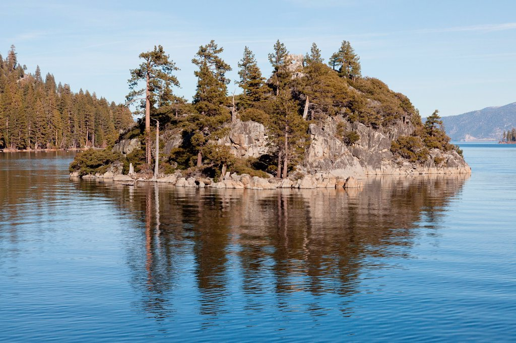 Fannette Island is the only island in Lake Tahoe, California/Nevada, United States  It lies within Emerald Bay : Stock Photo