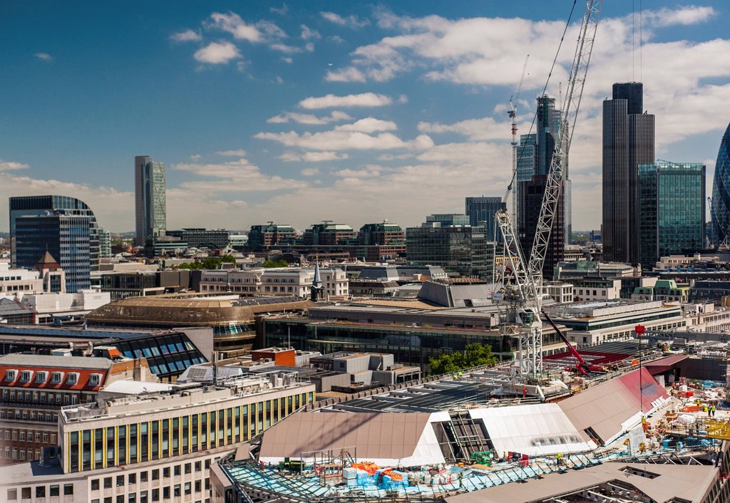 London, UK, Great Britain, Aerial Skyline, Panorama Cityscape, from St  Paul´s Cathedral : Stock Photo