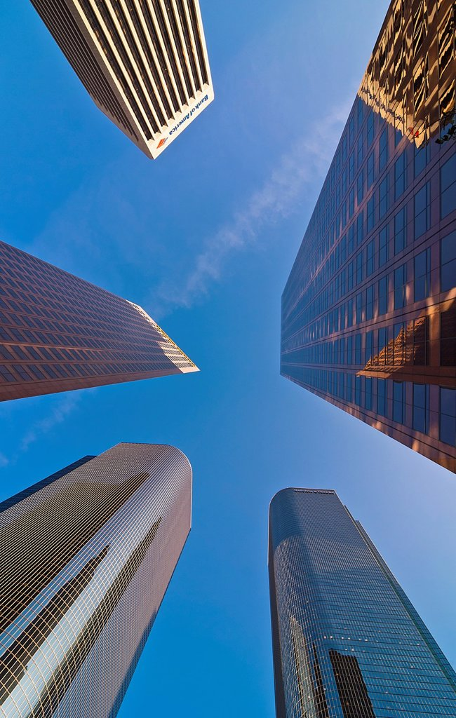 Stock Photo: 1436R-440870 Downtown Los Angeles skyscrapers, California USA