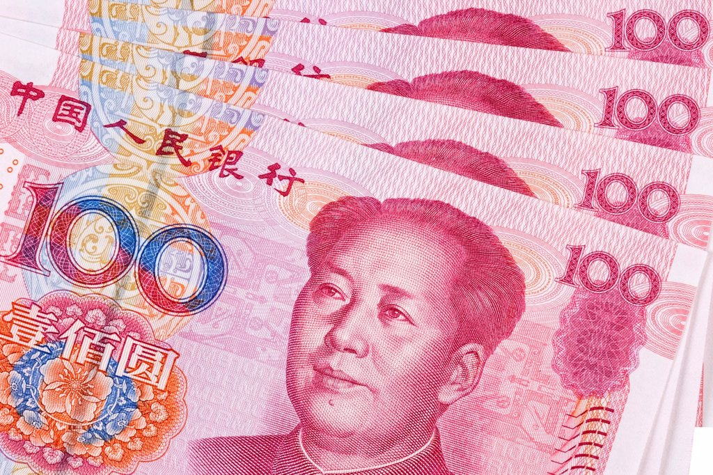 Stock Photo: 1436R-441573 Chinese 100 RMB or Yuan featuring Chairman Mao on the front of each bill