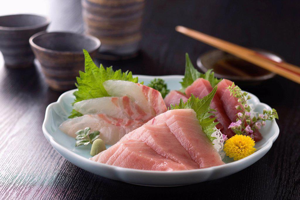 Stock Photo: 1436R-441723 Three Assorted Sashimi, Medium Fatty Tuna, Lean Tuna and Sea Bream