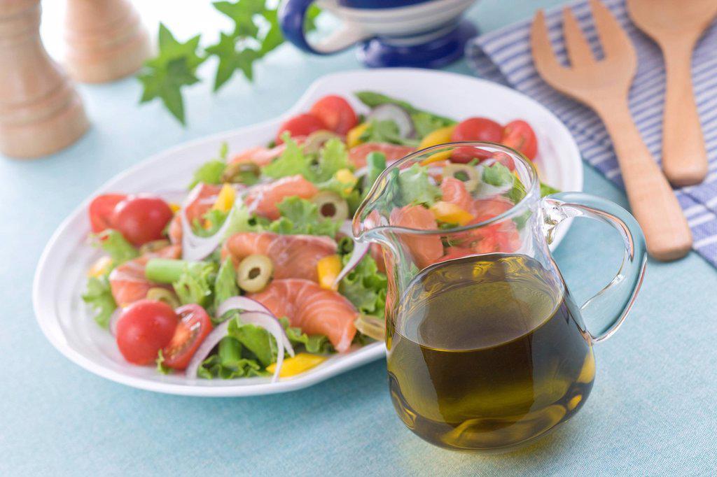 Olive Oil and Marinated Salmon Salad : Stock Photo