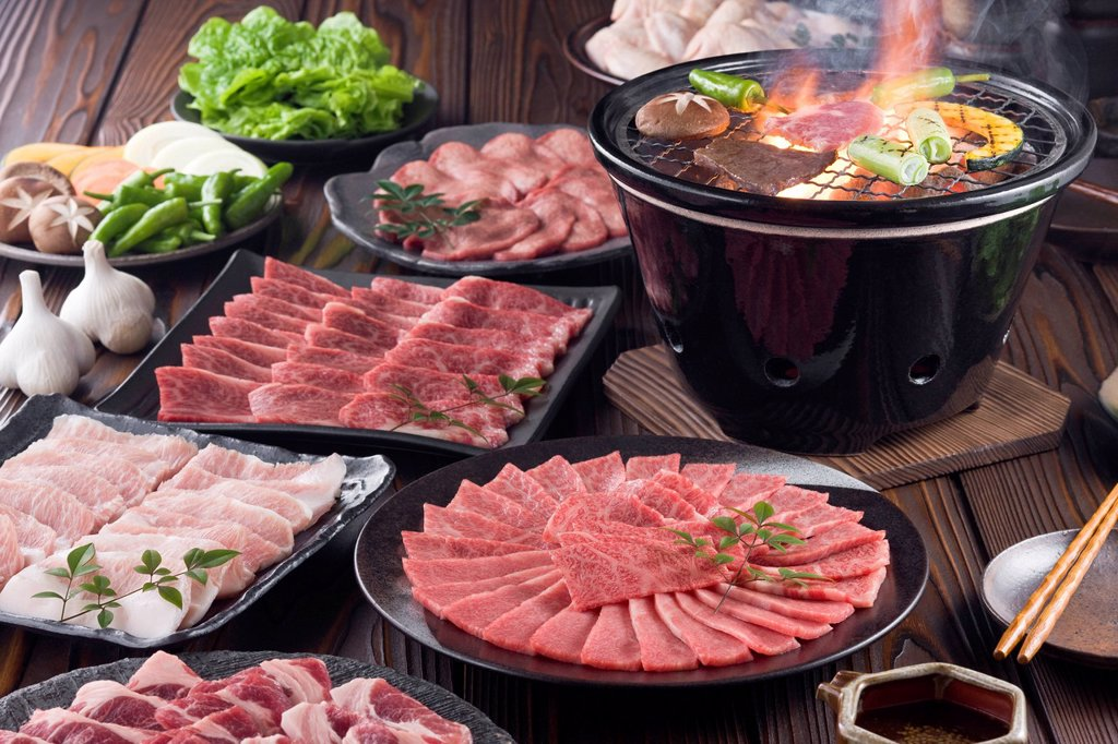 Stock Photo: 1436R-442668 Korean Barbecue on Charcoal Grill