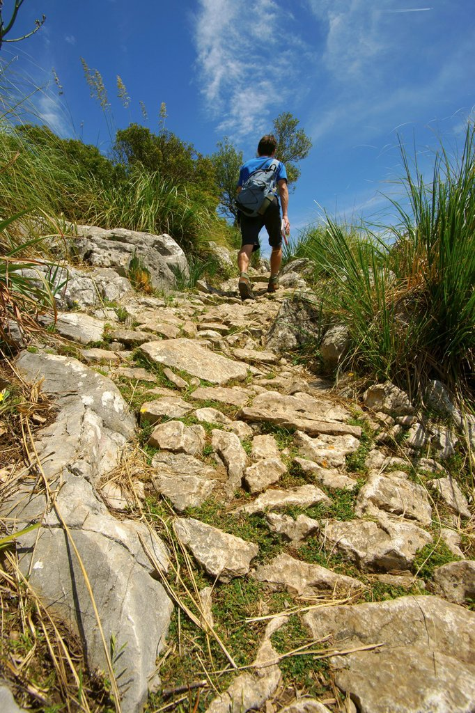 Tossals Verds way to Coll Coloms long distance footpath GR 221 Sierra de Tramuntana Majorca Balearic Islands Spain : Stock Photo
