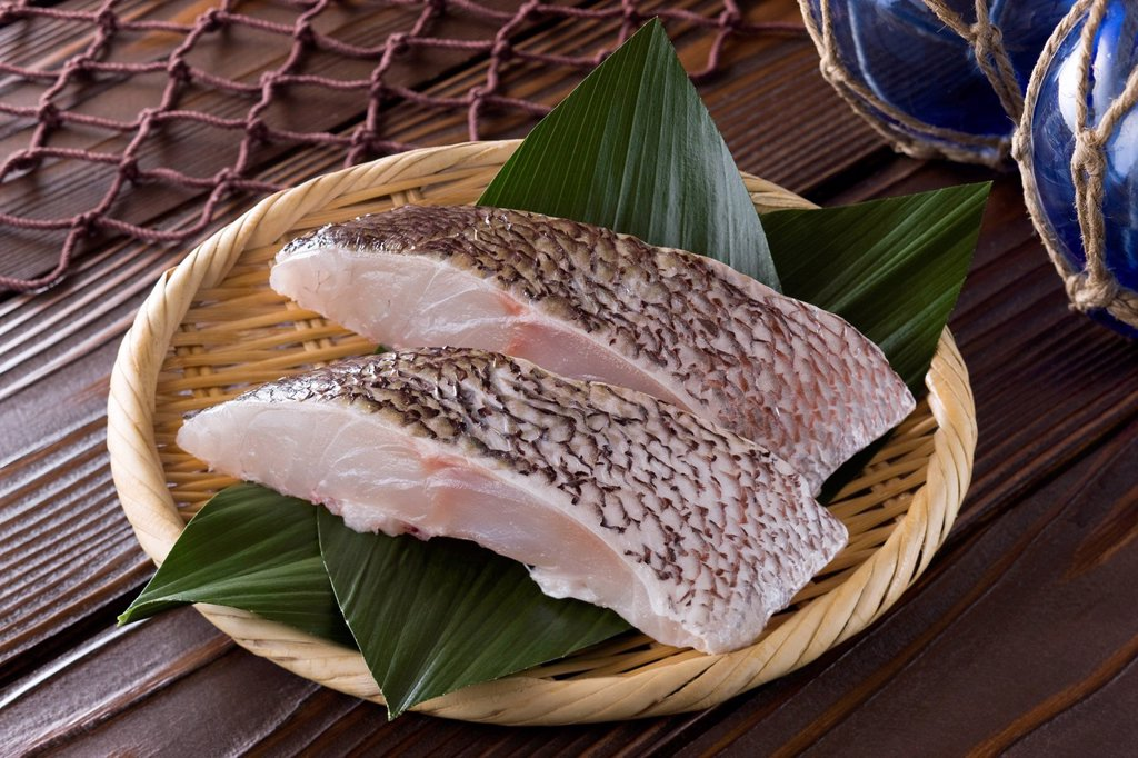 Stock Photo: 1436R-443834 Sliced Red Sea Bream