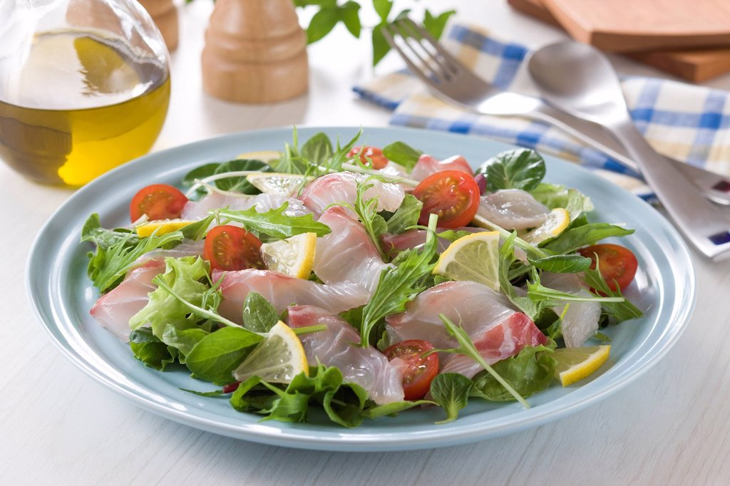Stock Photo: 1436R-443946 Red Sea Bream Carpaccio Salad