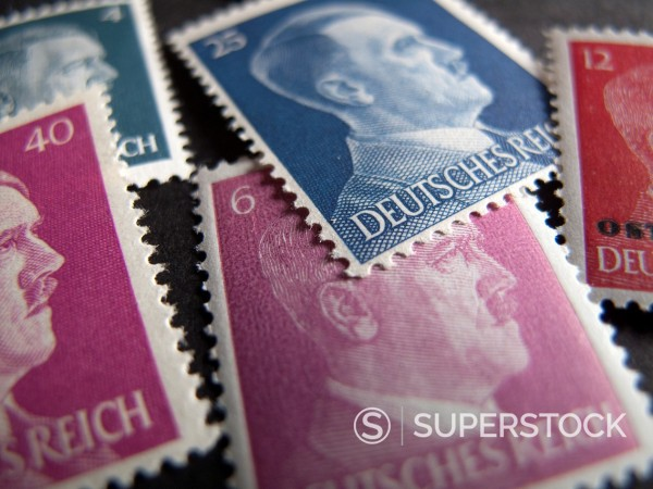 Stock Photo: 1436R-444158 Historic postage stamps with Adolf Hitler´s face