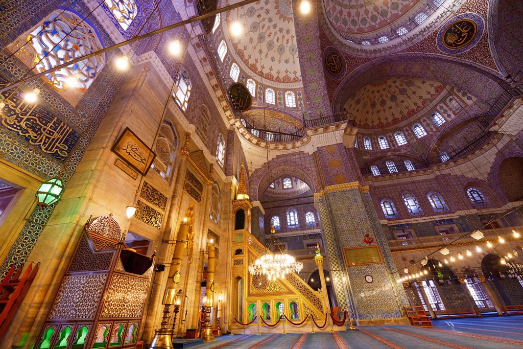 Stock Photo: 1436R-444397 Preachers pulpit Mihrab and Minbar with Iznik tile ceiling of the empty New Mosque Istanbul