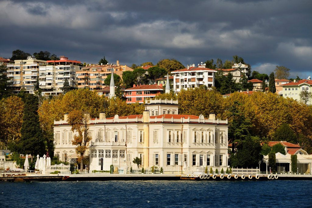 Stock Photo: 1436R-444437 Sun on Sait Halim Pasha Mansion in Yenikoy Turkey on the Bosphorus Strait