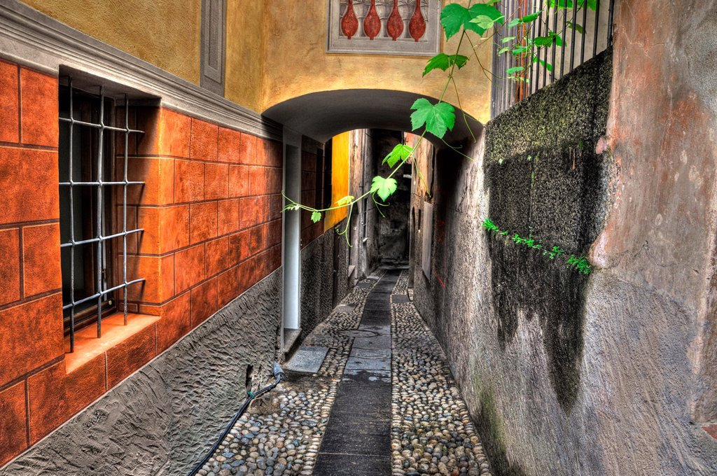 Stock Photo: 1436R-445344 Tight alley with old rustic houses