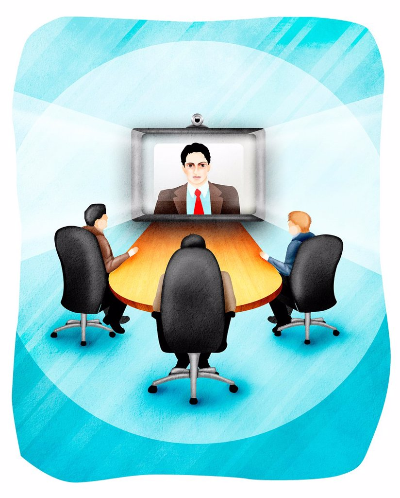 Stock Photo: 1436R-445536 Business executives video conferencing in office