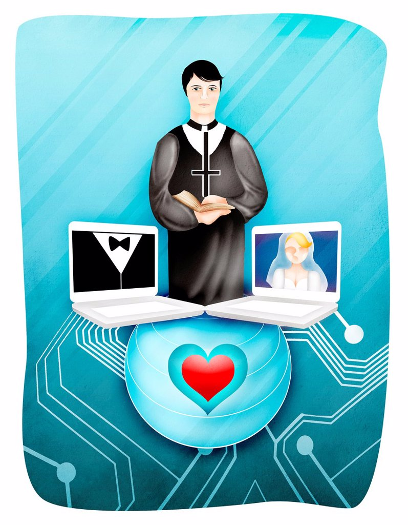 Bride and groom with officiate during online marriage : Stock Photo