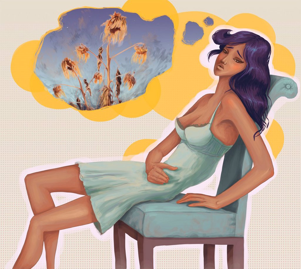 Stock Photo: 1436R-446609 Conceptual shot of dejected woman sitting on chair with thought bubble depicting infertility