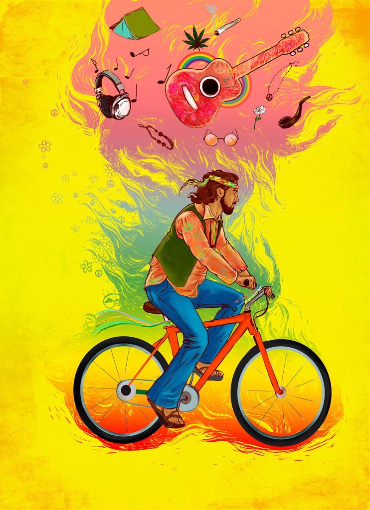 Stock Photo: 1436R-446908 Illustrative image of hippy man riding bicycle