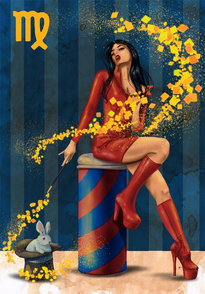 Illustrative image of female magician representing Virgo sign : Stock Photo