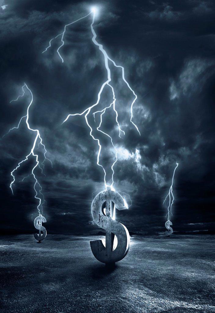 Illustrative image of lightening striking on dollar signs representing recession : Stock Photo