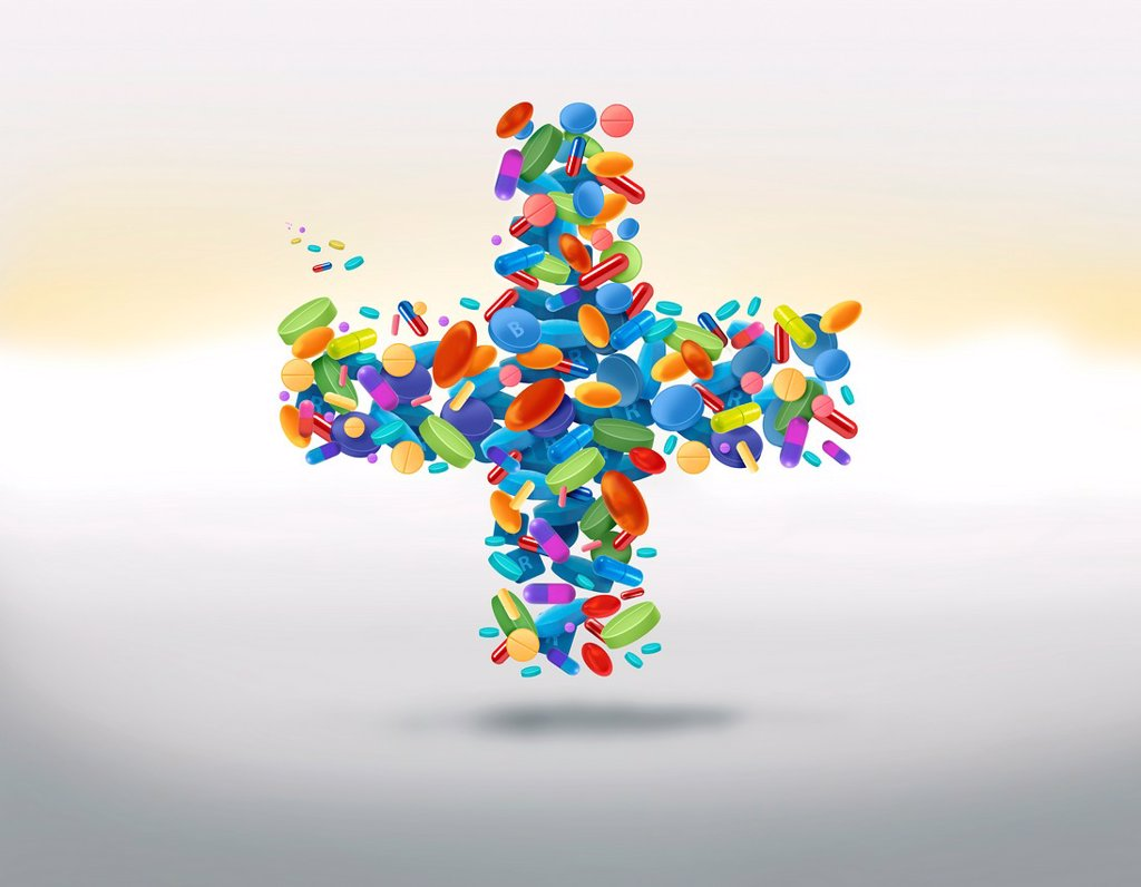 Stock Photo: 1436R-447163 Illustrative image of cross shaped medicines