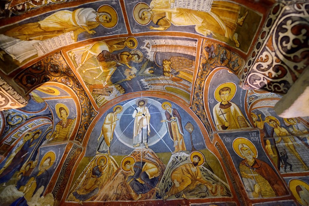 Byzantine frescoes of the life of Christ in the Dark Church at Goreme Open Air Museum Turkey : Stock Photo