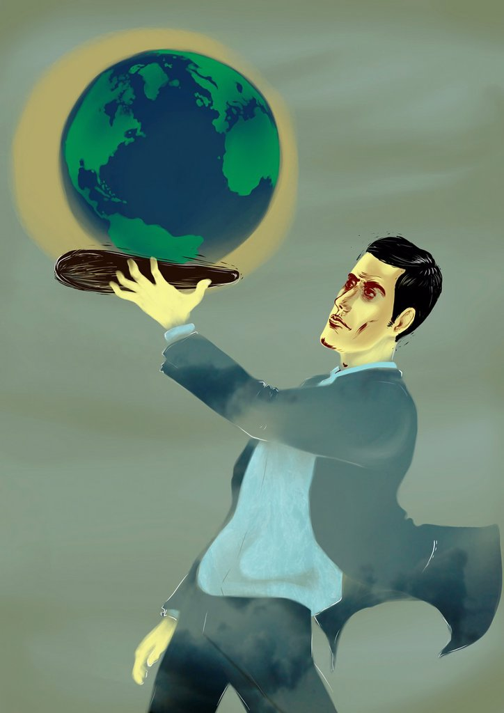 Stock Photo: 1436R-448457 Businessman holding a globe on a platter