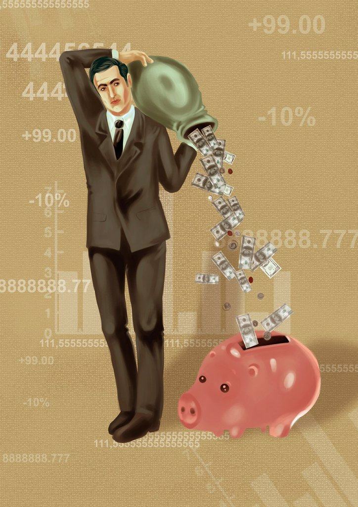 Stock Photo: 1436R-448964 Illustrative image of businessman dropping money in piggy bank
