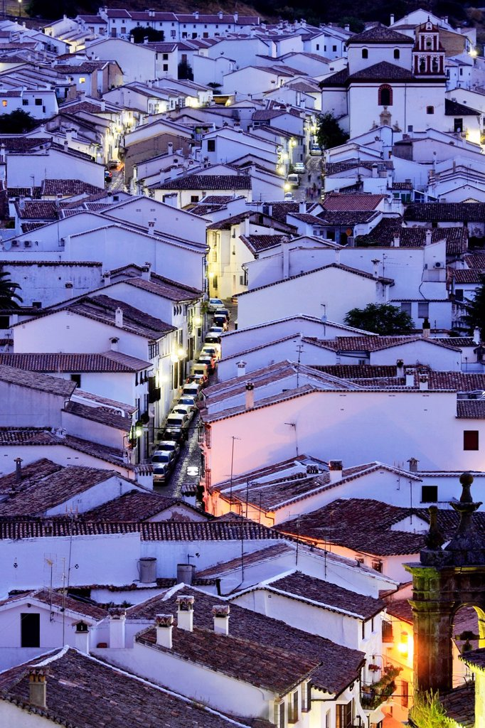 Stock Photo: 1436R-452478 Night view. Town of Grazalema, Natural Park of Sierra de Grazalema. Ruta de los Pueblos Blancos. Cádiz. Andalucia. Spain.