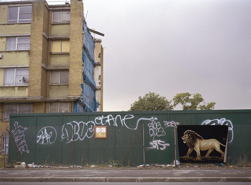 Vandalised apartment house : Stock Photo