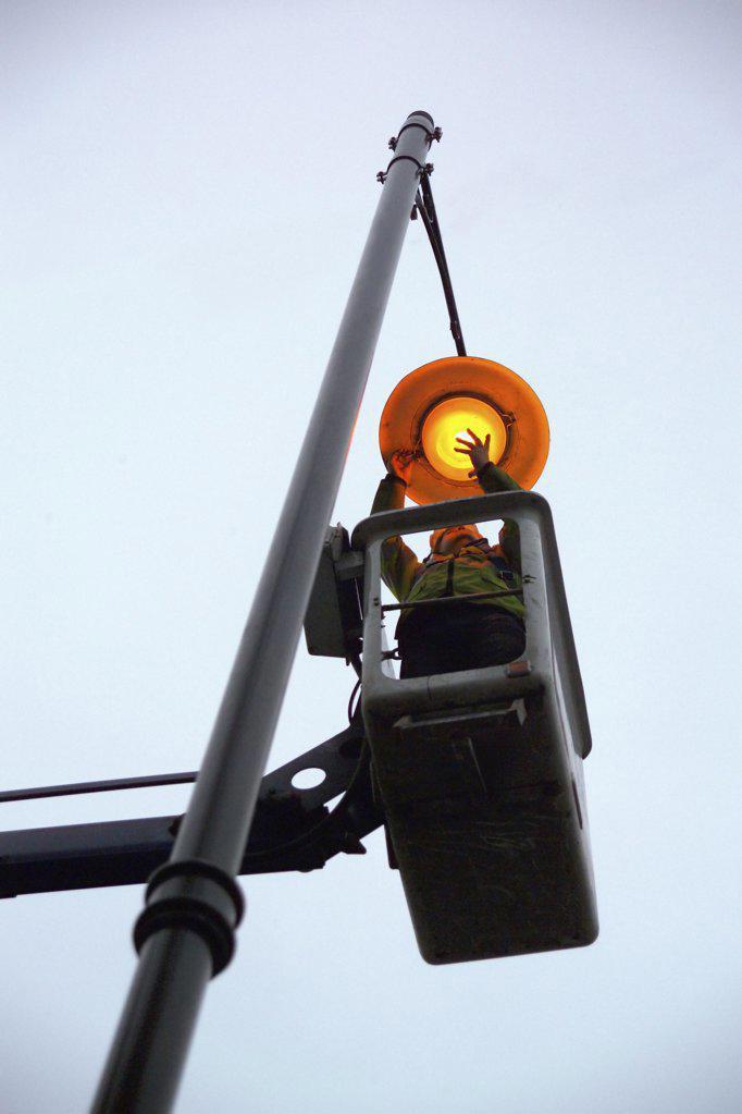 Street light maintenance : Stock Photo
