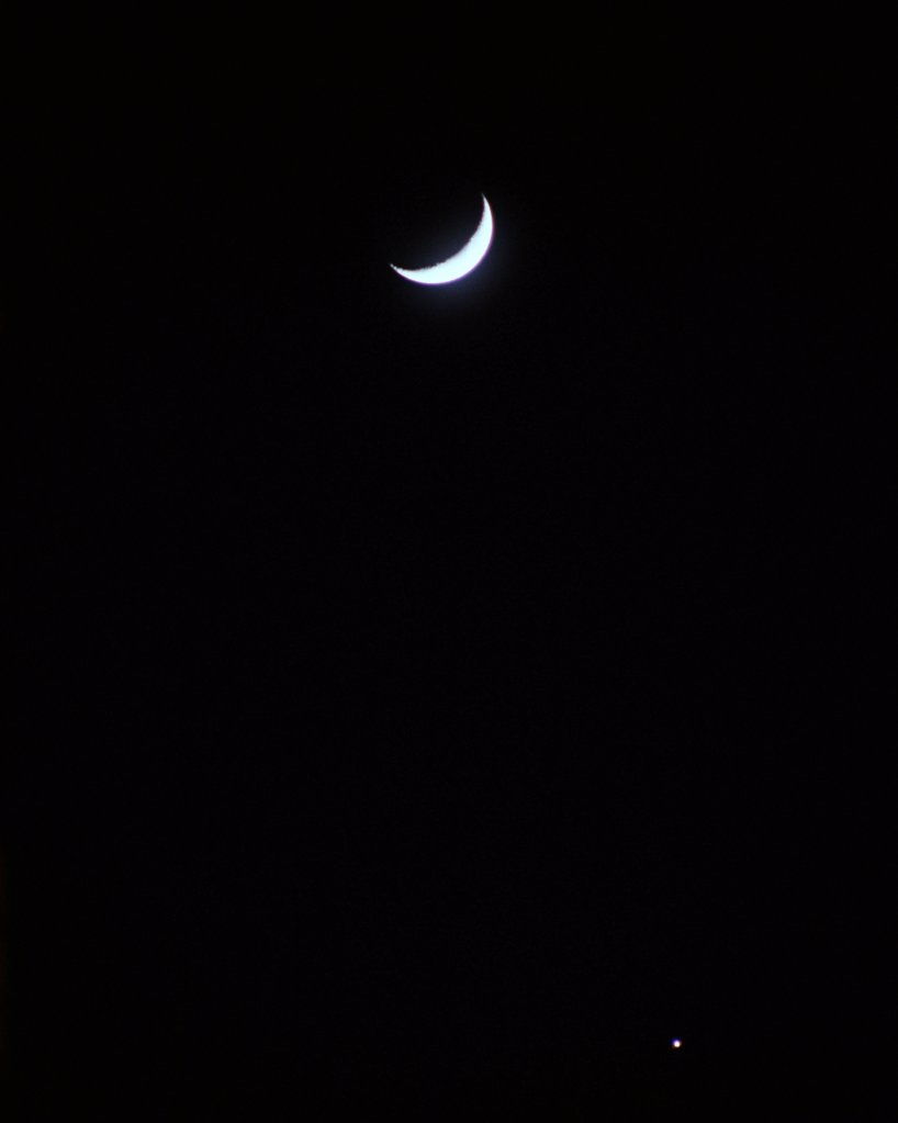 Crescent moon in sky : Stock Photo