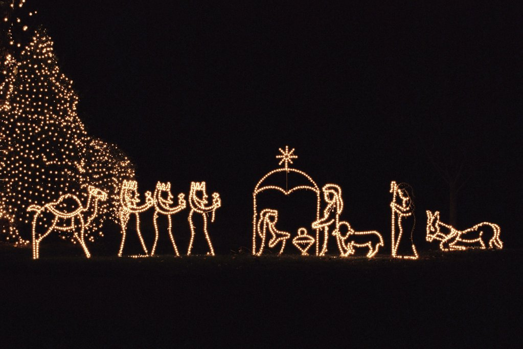 Illuminated nativity scene : Stock Photo