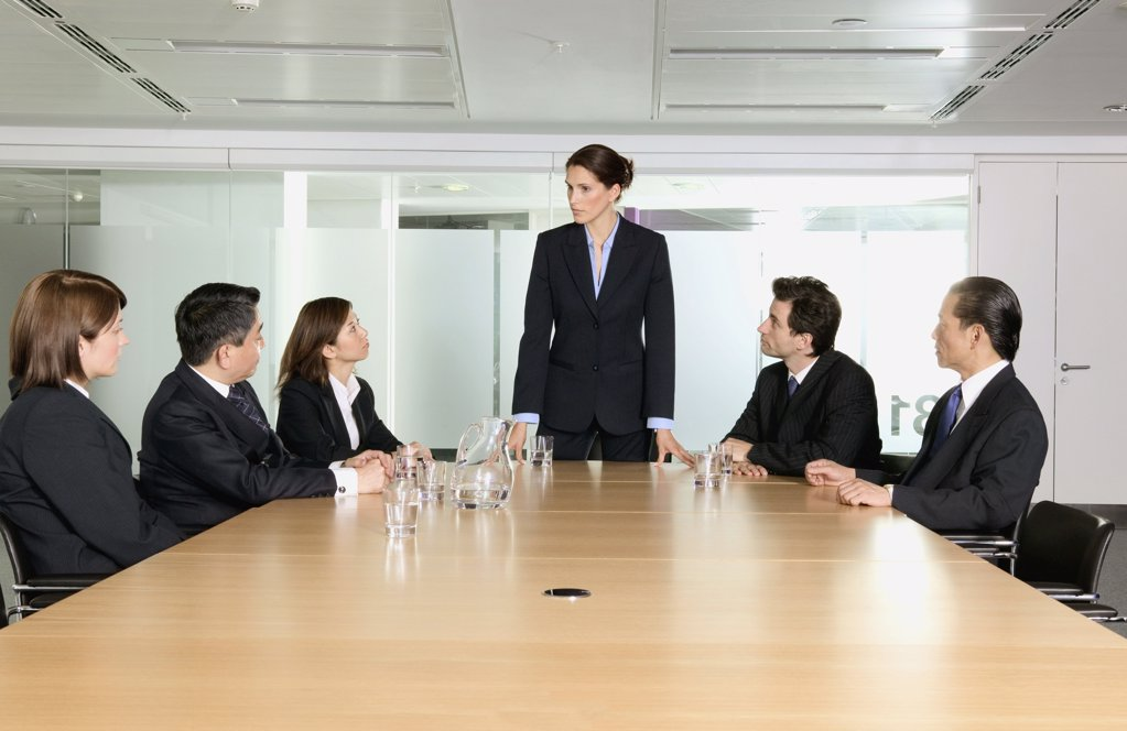 Serious businesswoman in meeting : Stock Photo