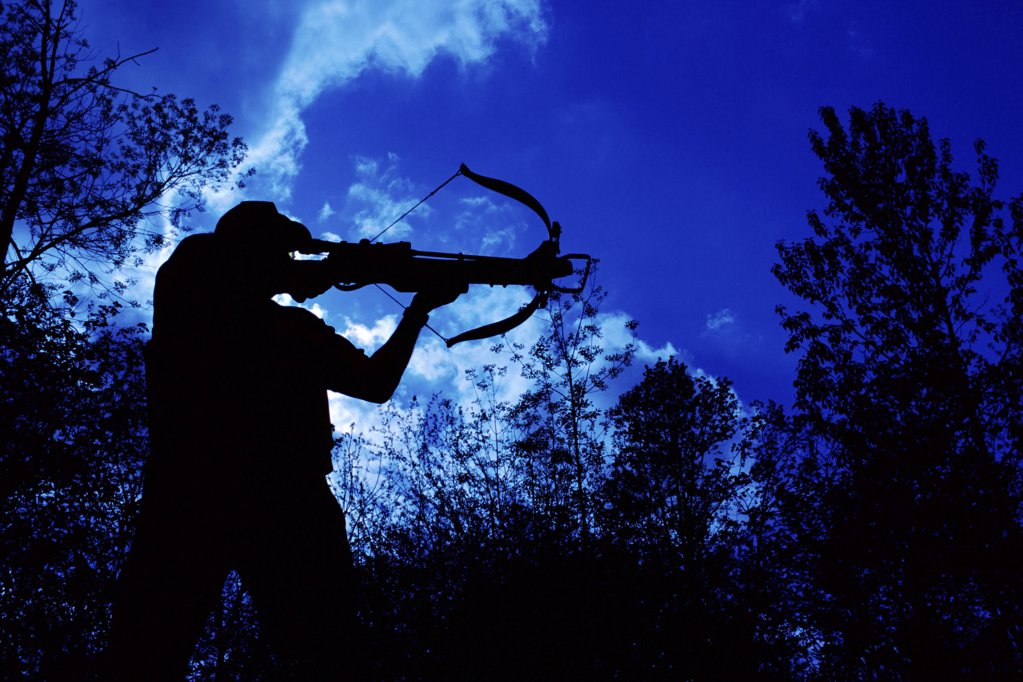 Silhouetted man aiming crossbow : Stock Photo