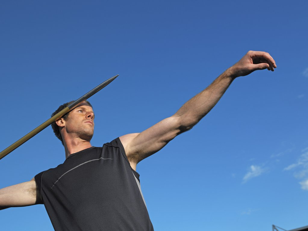 Stock Photo: 1439R-05008 Male javelin thrower
