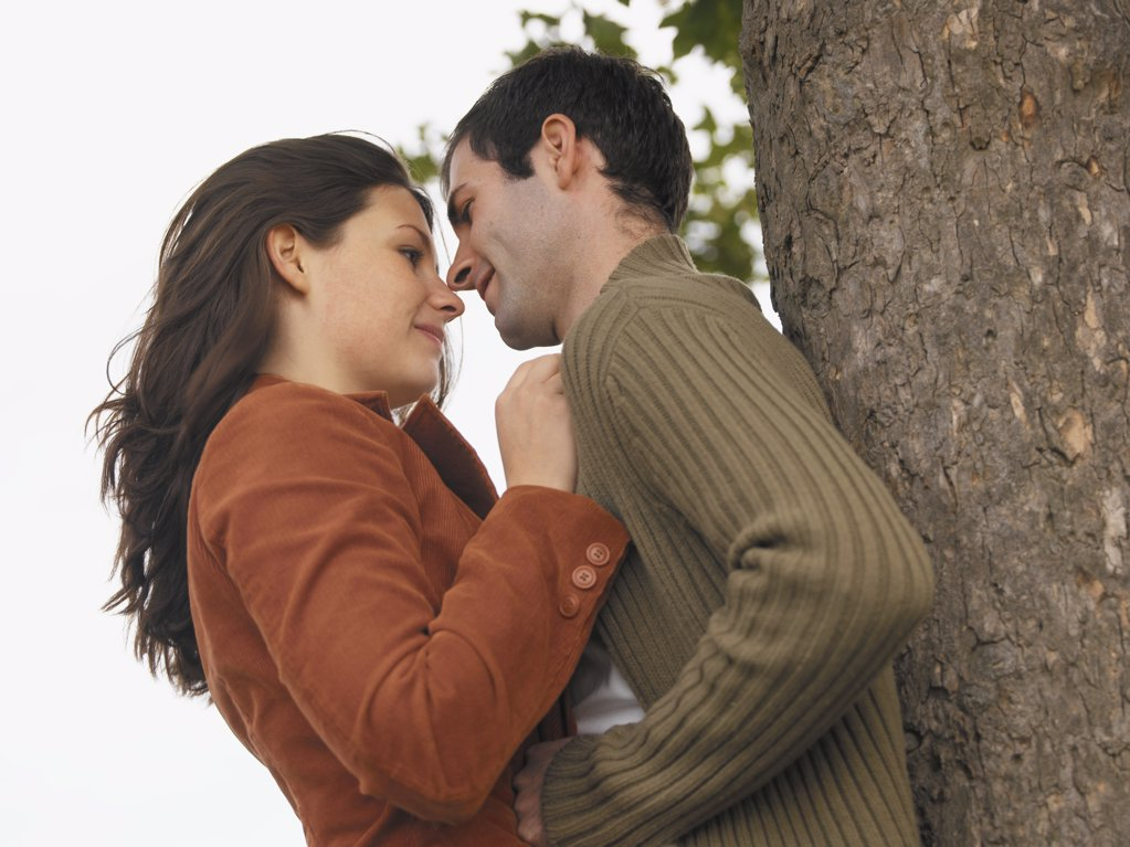 Couple hugging against tree : Stock Photo