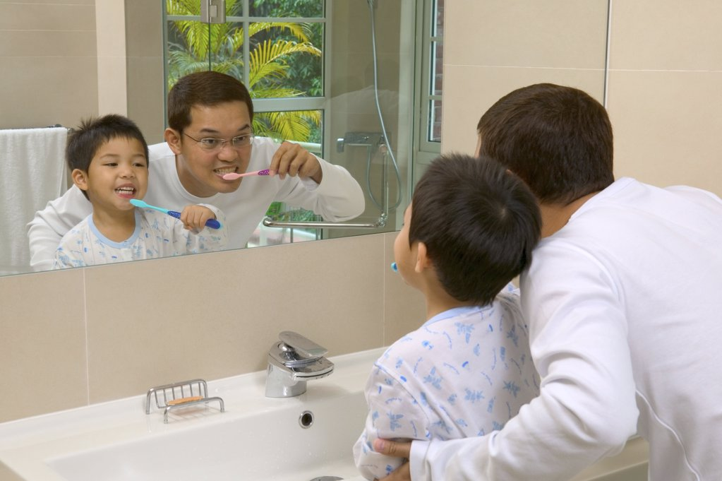 Stock Photo: 1439R-05184 Father and son brushing teeth