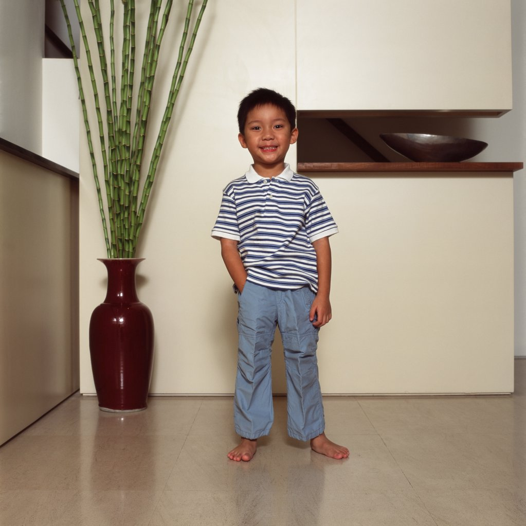 Boy standing in living room : Stock Photo