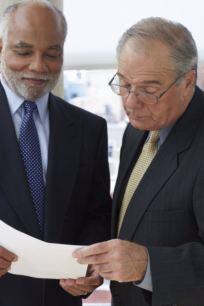 Stock Photo: 1439R-1002677 Two senior businessmen at work
