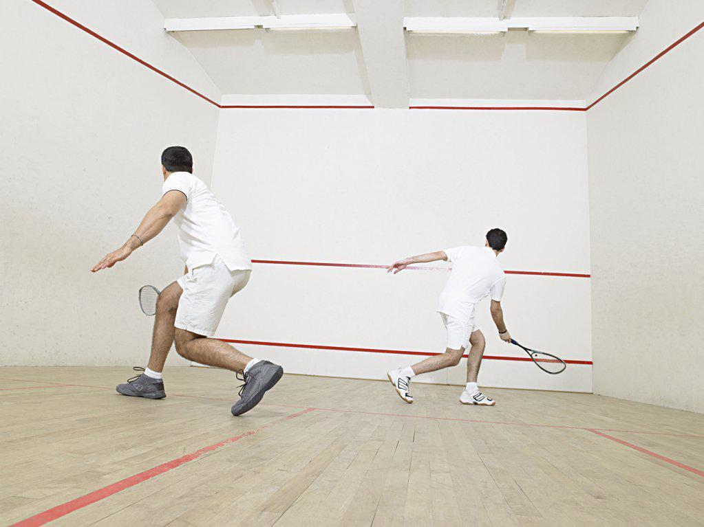 Stock Photo: 1439R-1003189 Men playing squash