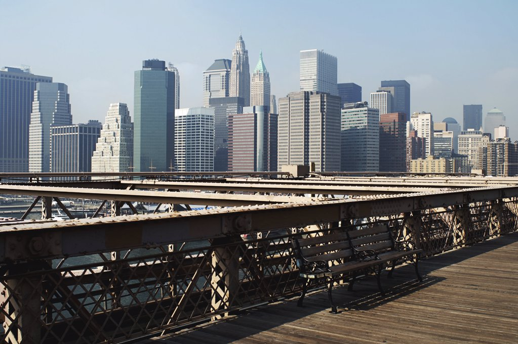 Manhattan bridge boardwalk : Stock Photo