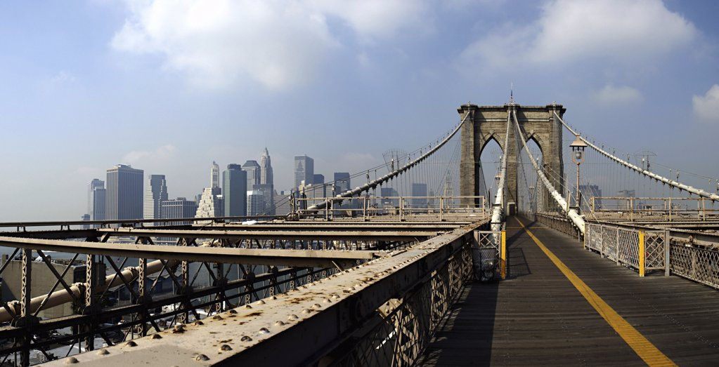 Brooklyn bridge boardwalk : Stock Photo