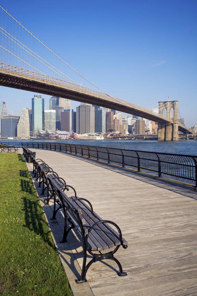 Brooklyn bridge and new york skyline : Stock Photo