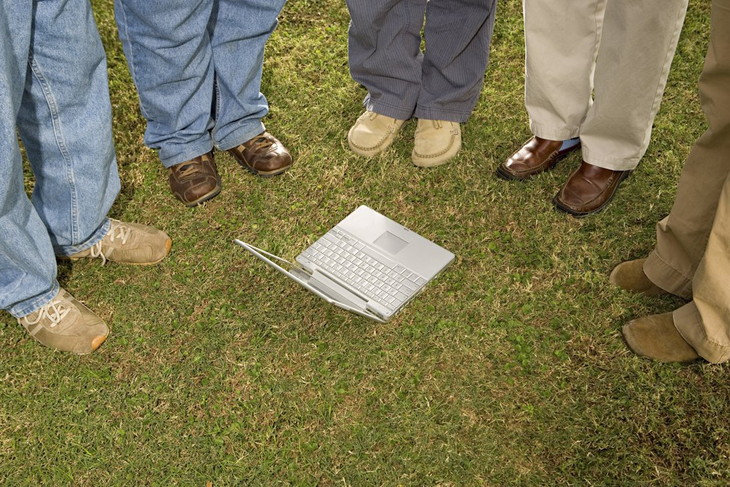 Five students stood outdoors : Stock Photo