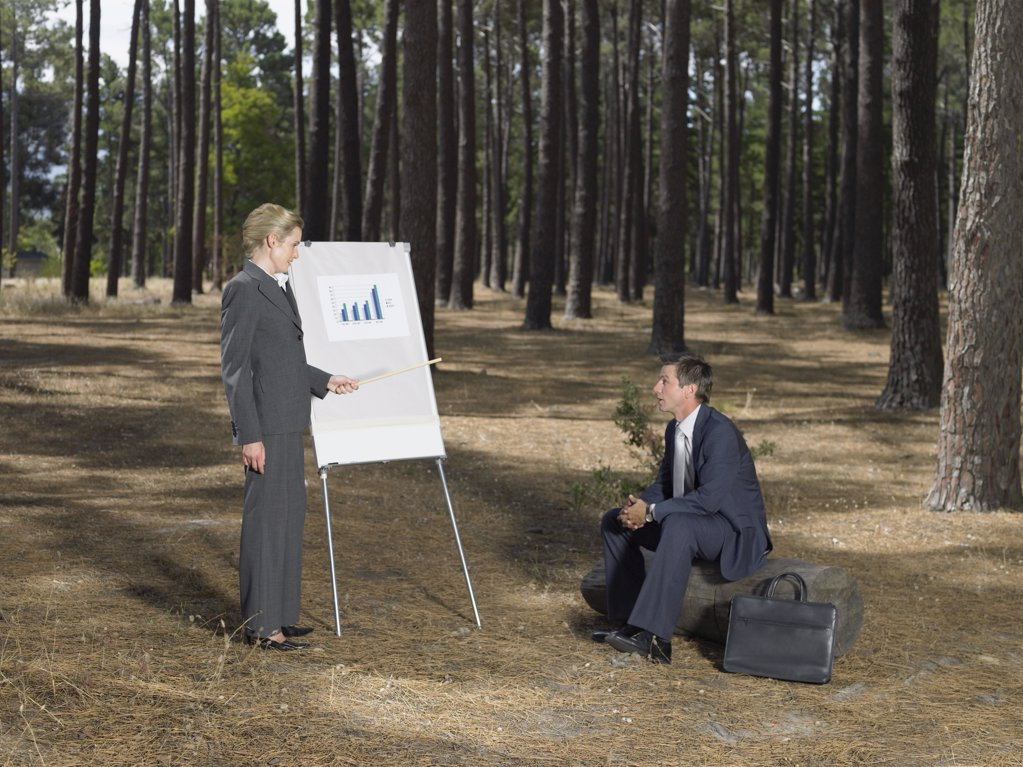 Office workers holding a meeting in forest : Stock Photo